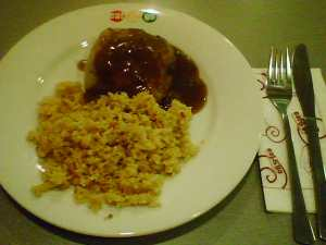 Steak Pie with Gravy and Rice Pilaf