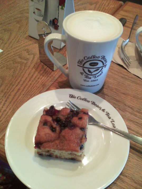 Coffee cake and milky tea for breakfast