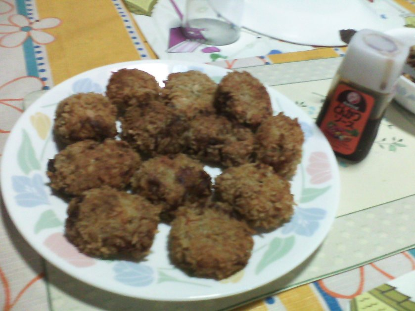 Menchi-katsu and BullDog sauce!
