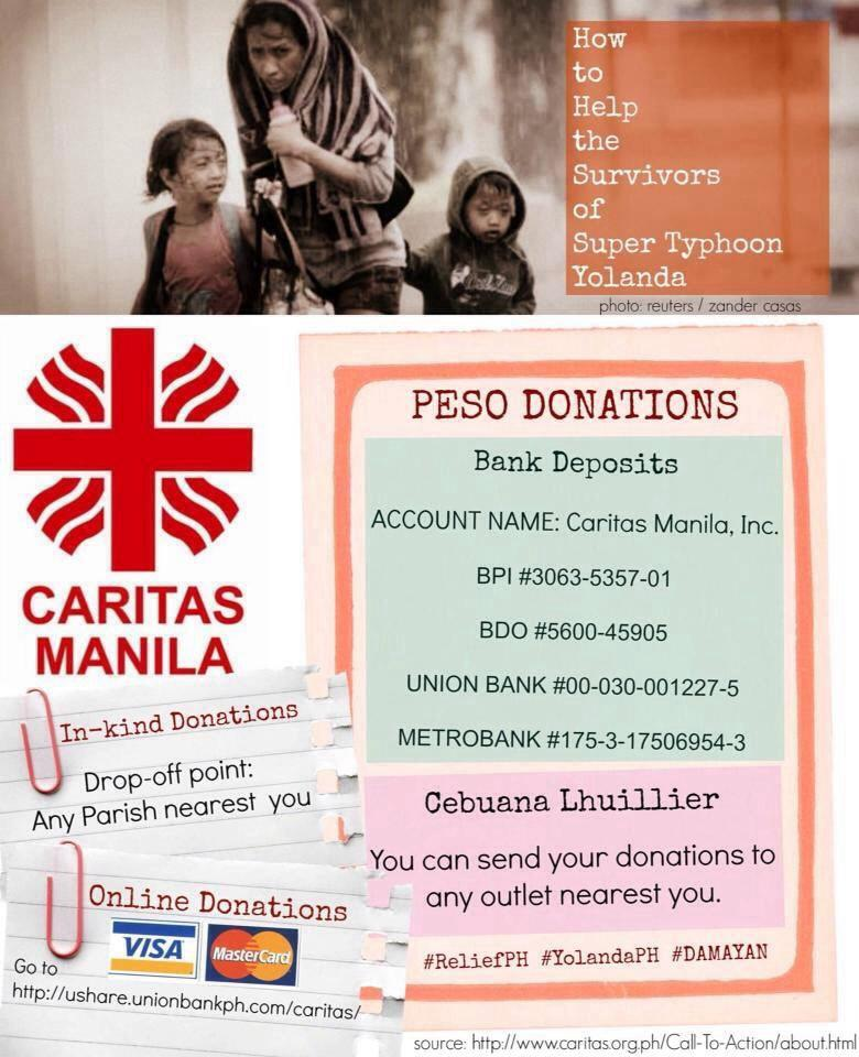 You can also donate via Caritas Manila