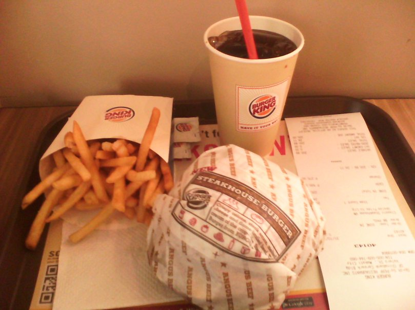 Steakhouse burger.  Fries.  A soda.  STAT!