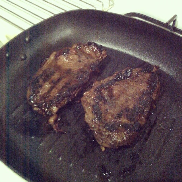 Happiness is a properly-cooked steak...or two