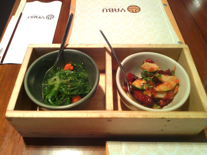 Seaweed and octopus salads