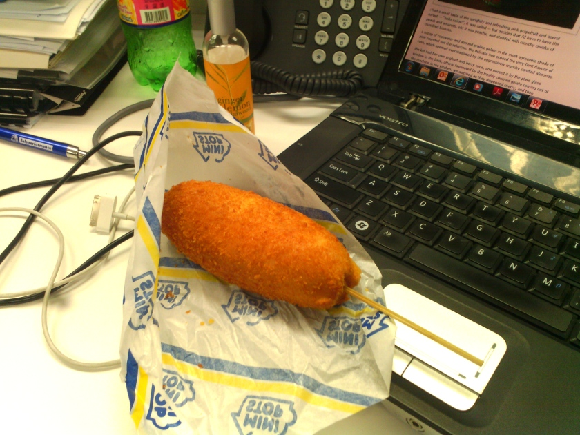 Looks like a conventional corn-dog...