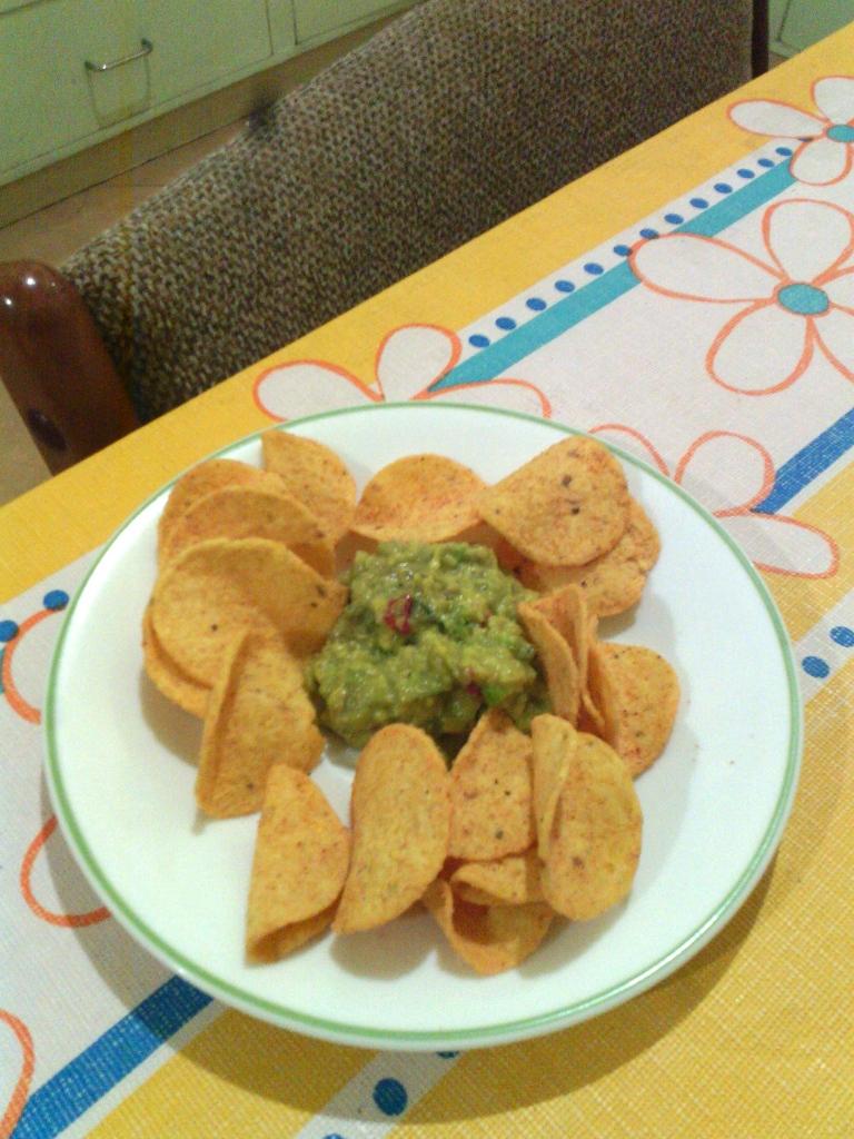 Tortilla crisps and a truly scrumptious dip