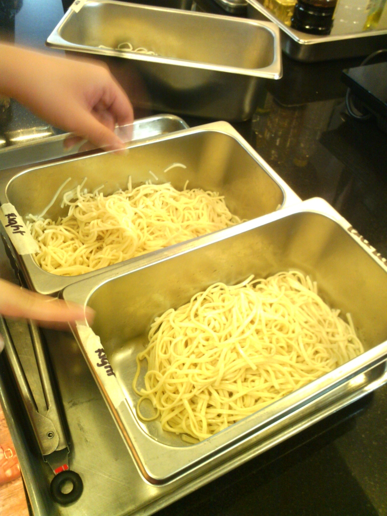 Good noodles should stay firm and bouncy after blanching