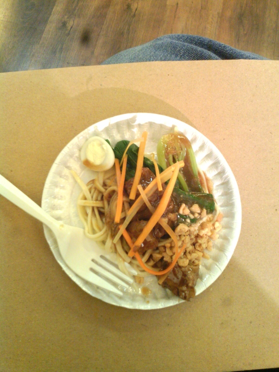 Excellent Pancit Canton with Braised Pork Humba, Bok Choy, and Quail Eggs