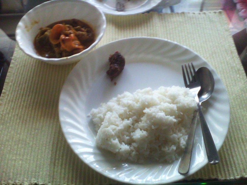 Seafood kare-kare and bagoong with hot rice
