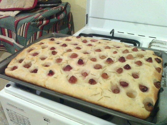 Focaccia with grapes is a treat