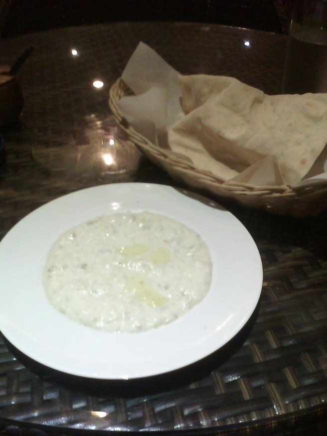 A tangy sort of baba ganoush and still-warm lavash