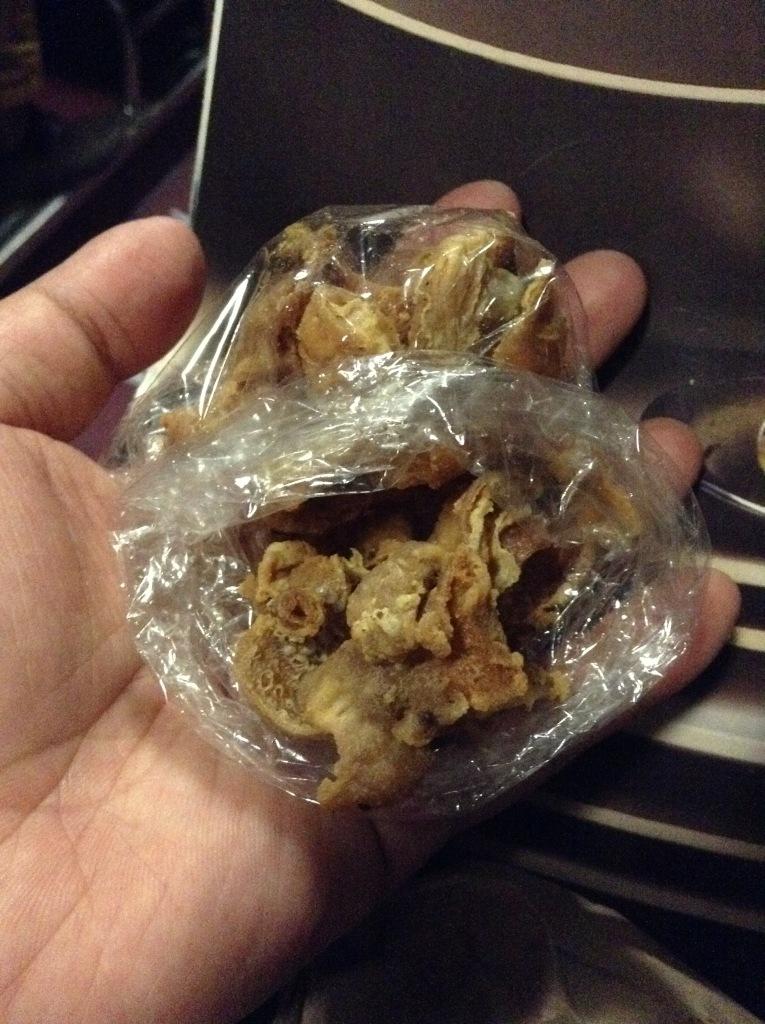 Deep-fried, extra-crunchy chicken skin