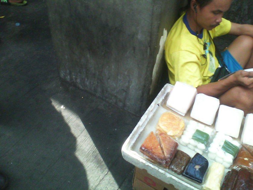 Rice cakes on the sidewalk
