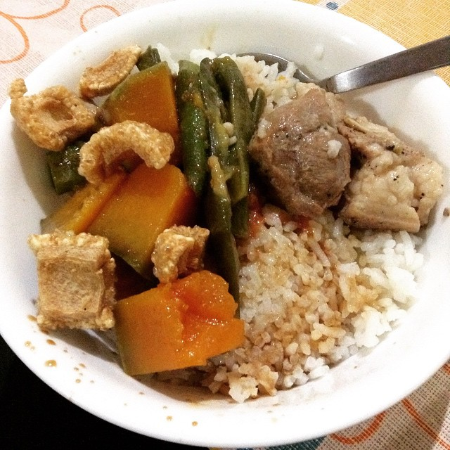 Chicharon on Pinakbet