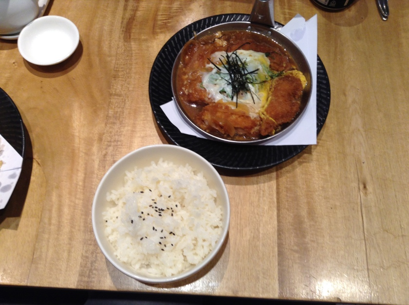 A rather unusual way of serving katsudon...