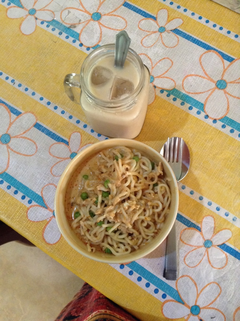 Prawn laksa and an iced white coffee