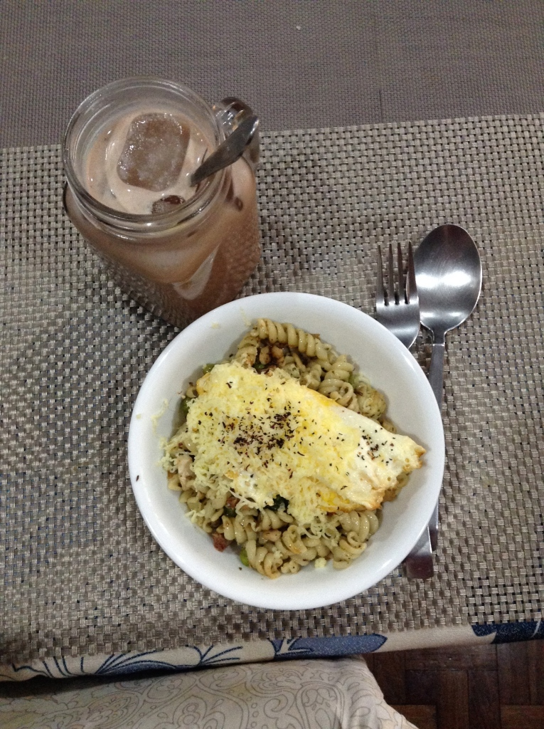 Brown-butter and pesto fusilli with an iced condensed milk mocha