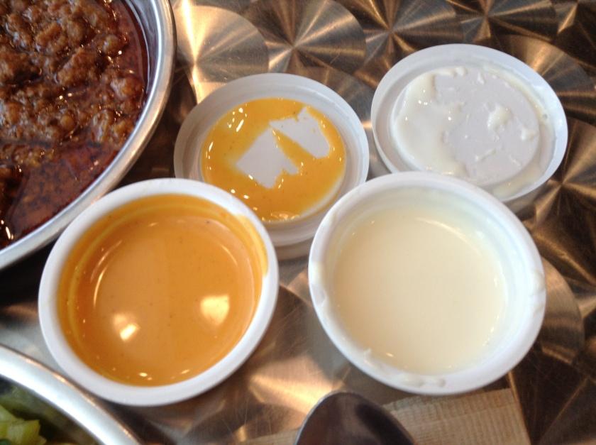 Tomato cheese and garlic yogurt sauces